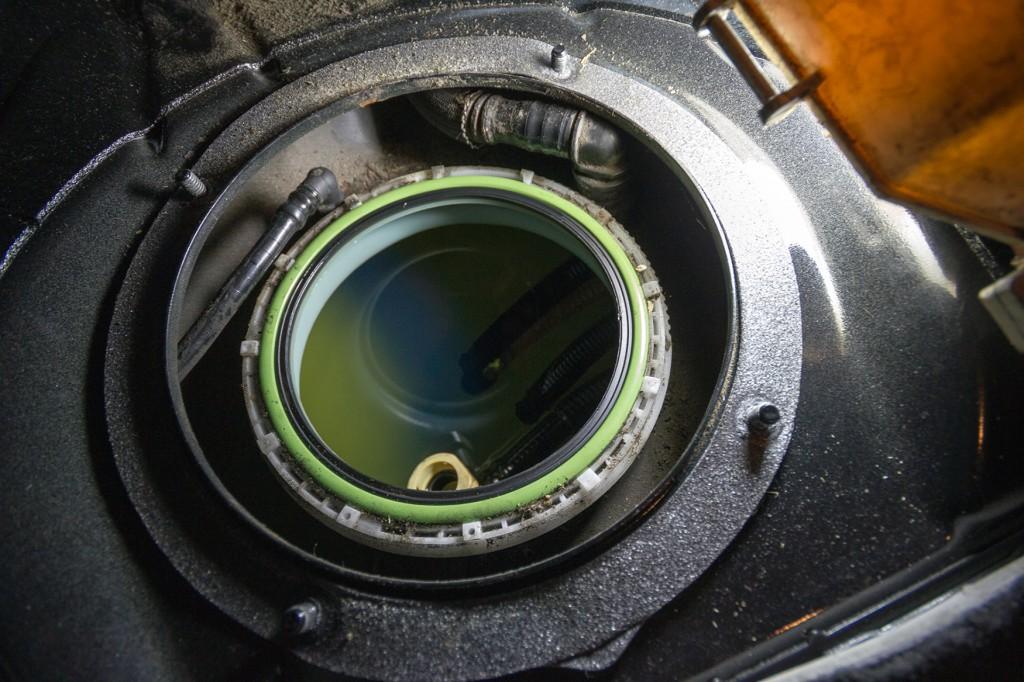BMW 135i fuel tank exposed
